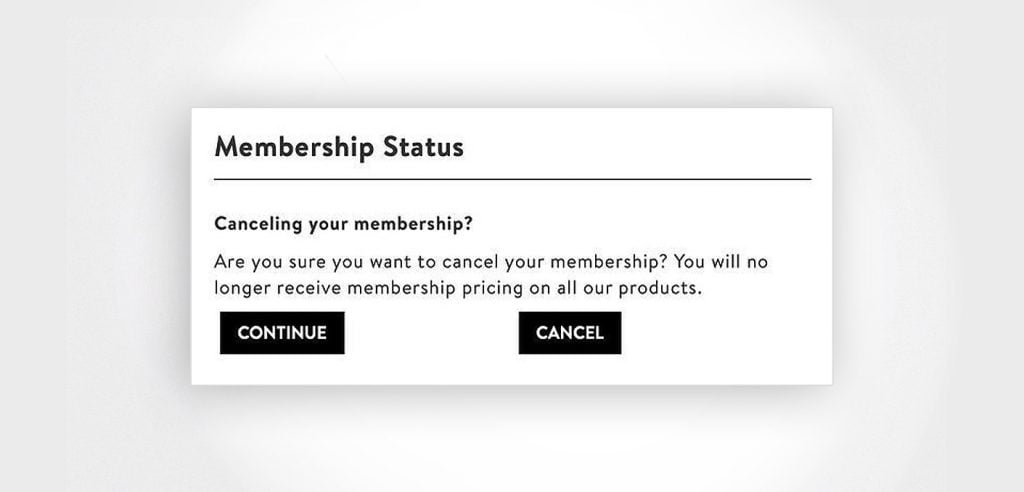 An example of a dark pattern. Two buttons with ambiguous copy aim to confuse customers.