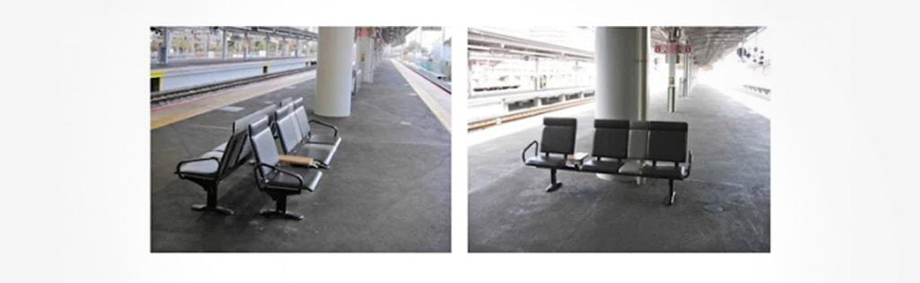 Change in bench orientation that prevented 90% of drunk people from falling onto the track