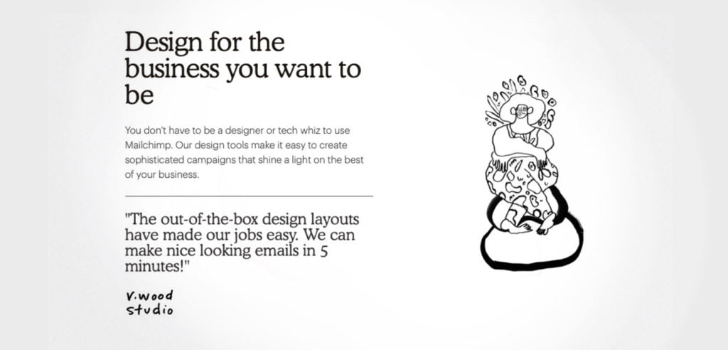 Mailchimp website communicating how easy it is to use their product.