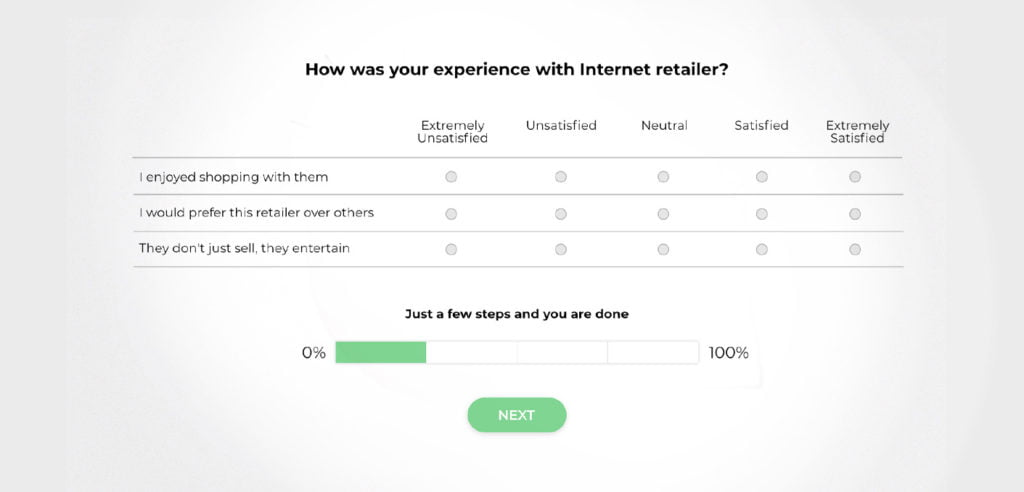 A chunked survey which looks easy to go through.