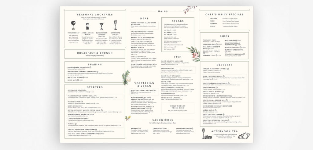The new menu features fewer items, uses comprehensive category names, provides visual information on glassware, and directs customers' attention inward