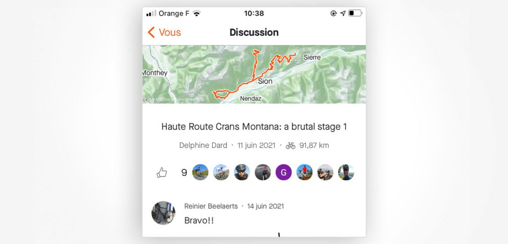 Strava members give and get kudos on published activities as a way to participate in the community