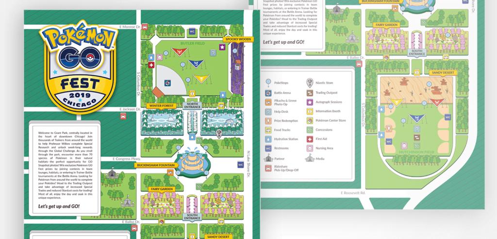 Plan of Pokémon GO Fest venue in Chicago, 2019