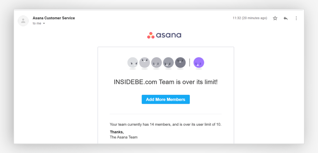 An ineffective and confusing email from Asana